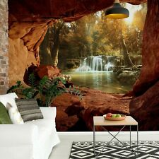 Lake Forest Waterfall Cave Photo Wallpaper Wall Mural Fleece Easy-Install Paper