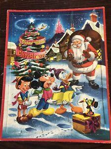 Vintage Disneyland Christmas Puzzle Frame Tray 1957 Whitman Mickey Donald