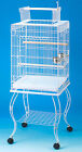 """Large 20 Inch Parrot Bird Cage Top Play With Stand Wheel 20x20x57""""H White-227"""