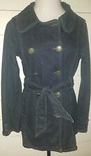 Jou Jou Premium Denim Trench Pea Coat Dark Blue Jean Jacket Belted Women's Large