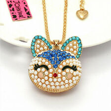 Pendant Betsey Johnson Long Chain Necklace Lovely Pearl Blue Fox Head Crystal