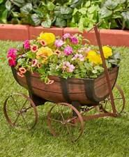 Rustic Country Barrel Wagon Flower Planter Plant Stand Porch Garden Yard Decor