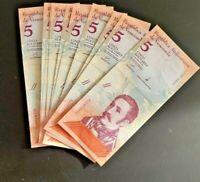 VENEZUELA 5 BOLIVARES SOBERANOS 2018 P NEW LOT 10 PCS UNC