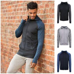 Mens Full Zip Long Sleeve Hoodie Running Training Sports Hooded Top Thumb Holes