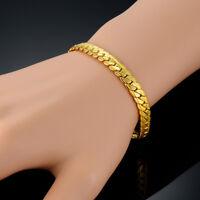 *UK* 18k Stamped Gold Plated 20cm Snake Chain Link Men's Bracelet + Gift Bag