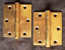 "Restored Pair Vintage 3""x3.5"" Stanley Solid Cast Brass Butt Knuckle Door Hinges"