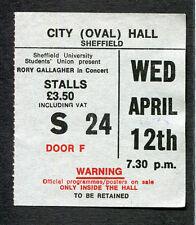 1978 Rory Gallagher Concert Ticket Stub Sheffield UK Photo Finish Rare