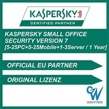 Kaspersky Small Office Security 7 |5PC 10PC 15PC 20PC 25PC + 1-3 Server 1 Jahr