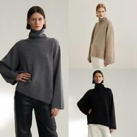Luxury  Runway Womens Wool Cashmere Blended Turtleneck Sweater Knit Tops Gray