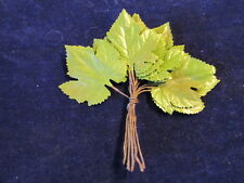 """Vintage Millinery Flower 2 1/8"""" Leaf 12pc Bunch Shaded Green for Hat + Hair B45"""
