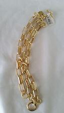1AR by UnoAerre - 18KT Gold Plate Wide Textured & Polished Chain Link Bracelet