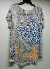 Chico's Knit TOP Size 2 = L Short Sleeves Rayon Blend Cotton Colorful Abstract
