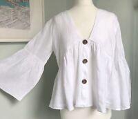 ZARA White Pure Linen Flared Bell Sleeve Top L UK 12 14 Relaxed Lagenlook Summer