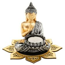 Thai Buddha gold meditating spiritual Flower Tealight Holder candle