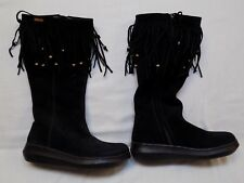 7 M ROCKET DOG Black Suede Leather Womens Ladies Boots Tall Fringe Beaded Flats