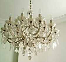 More details for extra large antique crystal chandelier - one of a pair
