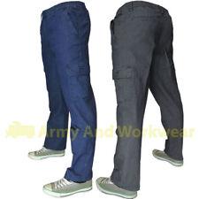 Fully Elasticated Waist Combat Jeans Mens Stretch Denim Smart Leisure Pants NEW