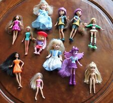 "Little Dolls: Lot of 12 Miniature Dolls 4""-6"" Blue Dress Rollerblades Wings"