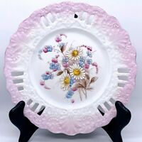 "Antique German Reticulated Hand Painted Floral Porcelain Cabinet Plate 8.25""W"