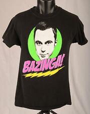 """BAZINGA"" Big Bang Theory Sheldon T Shirt Black Multicolor Graphic Sz S Cotton"