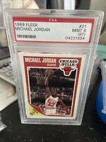 1989 FLEER BASKETBALL CARD #21 MICHAEL JORDAN, PSA 9 MINT (CHICAGO BULLS) HOF