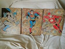 Wall Decor Set of Three Super Heros Batman Superman Captain Marvel  Canvas 14""