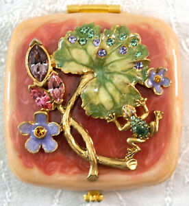 Jay Strongwater Compact Double Mirror Frog Lily Pad & Flowers In Box with Pouch