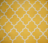 """Outdoor Upholstery Moroccan White on Yellow Waterproof Canvas fabric 60"""" Wide"""