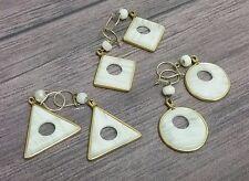 3 PAIRS Southwest Style Earrings White Faux Stone Dangle Shapes HANDMADE
