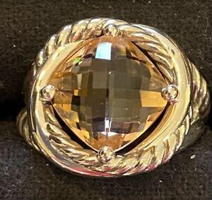 David Yurman Sterling Silver Infinity 11mm Morganite Ring, Size 7