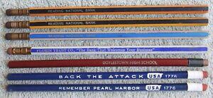 "7 Vtg Pencils: WWII Era ""Back The Attack/Remember Pearl Harbor"" & Long Ferrule"