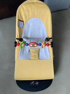 Yellow Baby Bjorn Bouncer W Toybar $260 value - pristine condition