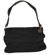 The Sak Handmade Black Crochet Snap Flap Front Satchel Handbag