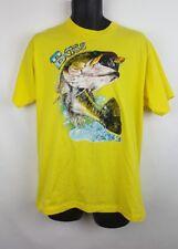 Vintage Screen Stars Bass Theme T Shirt XL Yellow Fishing Outdoor H1