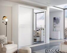 Brand New Modern Bedroom Sliding Door Mirror Wardrobe HAVANA 203cm White Matt
