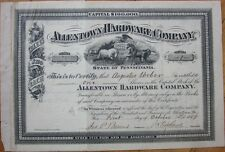 1889 Stock Certificate: 'Allentown Hardware Company' - Allentown, PA Penn