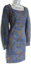 MONSOON Black Blue Floral Knee Length Sheer Long Sleeve Wiggle Pencil Dress M