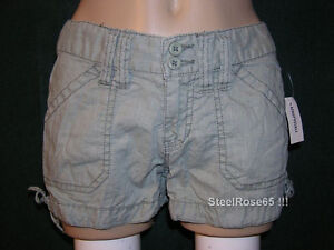 NEW Aeropostale Junior Girls Solid Green Linen Tie Bottom Shorts 1 / 2