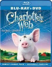 CHARLOTTE'S WEB BLU RAY & DVD MOIVE COMBO PACK 2 DISC SET FAMILY FAV FREE SHIP