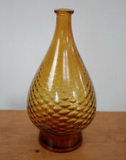 """Vintage 1950s Italian Designer Amber Brown Quilted Art Deco Glass Vase 12"""" Italy"""