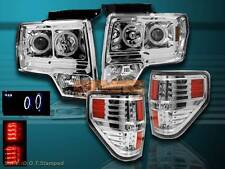 09-13 FORD F150 CCFL LED PROJECTOR HEADLIGHTS TWIN HALO + CLEAR LED TAIL LIGHTS