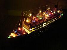 "Titanic wooden model cruise ship w/flashing lights 24"""