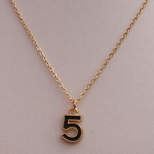 Beautiful Black Gold Colour Pendant Number 5 Charm Necklace UK