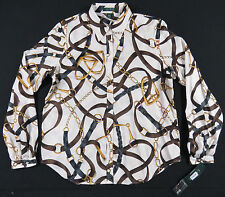 NEW NWT LRL RALPH LAUREN WHITE BELTS CHAINS EQUESTRIAN BAROQUE SHIRT BLOUSE TOP