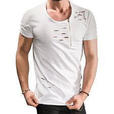 Men Ripped Tee Shirt Slim Fit O Neck Short Sleeve Muscle Tops Zip Casual T-Shirt