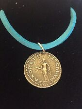 """Denarius Of Otho Roman Coin WC20 Made From Pewter On  18"""" Blue Cord Necklace"""