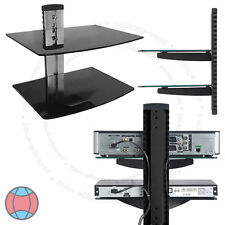TV Wall Mount Bracket Double Tier Folating Glass Shelves DVD Sky Box LCD LED