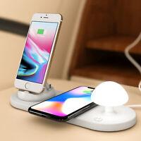 Mushroom Lamp Qi Wireless Charger Dock for iPhone Samsung Micro USB Type C Phone