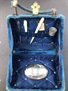 Antique Sewing Kit Velvet Box Implements Sterling Button Hook