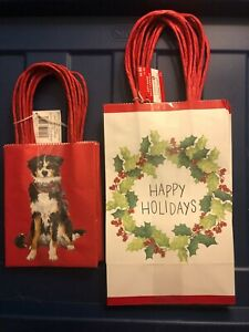 """Christmas Gift Bags, 2 Sets of 6; Dogs (5 1/2"""")  and Wreath (8 1/2"""")"""